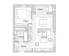 33 Ideas for apartment layout duplex Small Apartment Plans, Small Apartment Design, Apartment Floor Plans, Small Space Design, Apartment Layout, Small Apartments, Duplex Apartment, Mini House Plans, Small House Plans