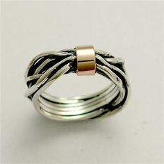 Sterling silver integrated 9K rose gold ring  by artisanlook, $116.00