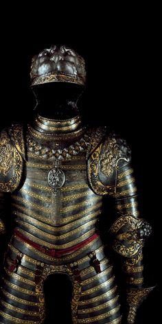 François I's suit of armor. The head, shoulders and elbows are lion's heads.