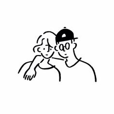 Girl and Boy. Black And White Comics, Black And White Drawing, Line Illustration, Graphic Design Illustration, Minimal Photo, Minimalist Drawing, Little Doodles, Korean Art, Cute Characters