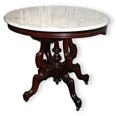 American Victorian Marble Top Center Table
