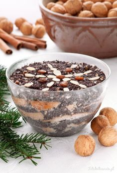 Polish Poppy Seed Christmas Dessert (sweet pudding) from Silesia Christmas Appetizers, Christmas Desserts, Christmas Treats, Polish Recipes, Polish Food, Czech Recipes, Vegan Dessert Recipes, Middle Eastern Recipes, Homemade Cakes