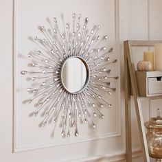 Stylish mirror is a pop of wow for any wall space, Natalie Sunburst Round Mirror Silver Sunburst Mirror, Sun Mirror, Starburst Mirror, Mirror Wall Art, Sunburst Wall Decor, Mirrors Silver, Mirror Floor, Mirror Set, Casa Retro