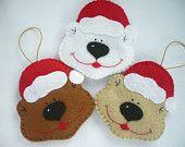 Gingerbread, Felt Christmas Ornament - Set of 3. $21.00, via Etsy.