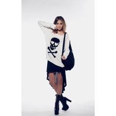 Wildfox Couture Love Skull- Crewneck Sweater ($178) ❤ liked on Polyvore