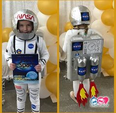 Have an astronaut costume contest.Rocket Astronaut Costume for kid Horse Costumes, Boy Costumes, Carnival Costumes, Halloween Costumes For Kids, Halloween Crafts, Halloween 2019, Cosplay Costumes, Astronaut Diy, Kids Astronaut Costume
