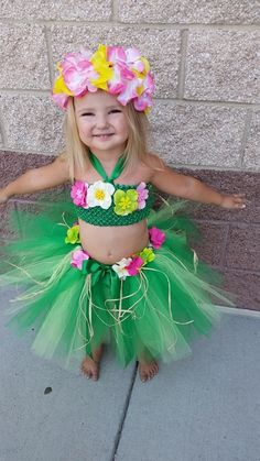 Hula girl Hawaiian tutu costume outfit set by HeartTOHeartCO