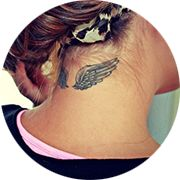 Angel Wings Tattoo Design: Below Hair on Neck