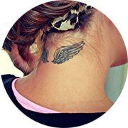 Angel Wings Tattoo Design: Below Hair on Neck