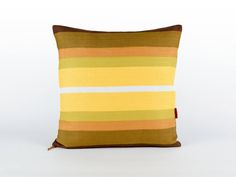 Yellow Striped Pillow Cover 18x18 -  Decorative cushion cover - couch pillow - vintage fabric - throw pillow cover - handmade by EllaOsix by EllaOsix on Etsy