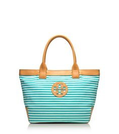 Tory Burch turquoise striped tote