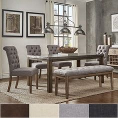 Shop Torrington Grey Tweed and Wheat Brown 7-piece Rectangular Dining Set - On Sale - Overstock - 31683534 Bar Furniture, Furniture Deals, Furniture Websites, Steel Furniture, Dining Room Bar, Dining Room Design, Dining Sets, Rectangle Dining Table, Steel Table
