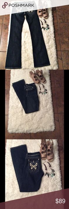 """🆕 Listing Miss Me Boot Cut Jeans Size28 🆕 Listing Miss Me Boot Cut Jeans Size 28. #JP5019. Measurements laying flat: Rise 7.5"""", Waist 15"""", Inseam 34"""". Butterfly design with Rhinestones. Material is 97% Cotton, 2% Elastin. Machine Wash Separately in Cold Water. 🚫. NO TRADES IR LIW BALL OFFERS🚫 Miss Me Jeans Boot Cut"""