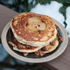 Pancakes with pear cooked right into the middle! Served with VT maple syrup, butter and walnuts.
