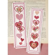 Hearts and Flowers Bookmarks - Cross Stitch, Needlepoint, Stitchery, and Embroidery Kits, Projects, and Needlecraft Tools   Stitchery
