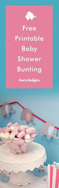 Download our free printable baby shower bunting - adorable elephant bunting available in pink and blue to download and print at home. Perfect for an elephant baby shower.