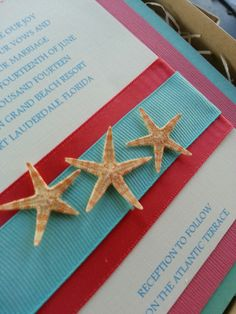 Boxed Aqua and Coral Natural Starfish Wedding Invitation set- Beach Theme Wedding - Ocean wedding Invitation set - Deposit Listing by HOUSEofCARDSbyDAHLIA on Etsy