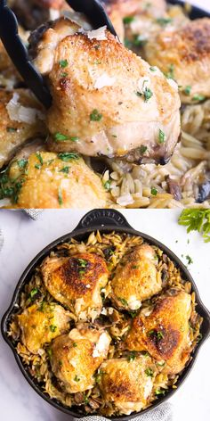 Looking for a super easy one pot dinner recipe Try my Mushroom Orzo and Chicken Skillet So easy to prep mostly bakes in the oven and perfect for a family meal easydinner chickenrecipe onepotdinner onepotmeal Orzo, Parmesan, Low Carb Brasil, Stuffed Mushrooms, Stuffed Peppers, Skillet Chicken, Evening Meals, One Pot Meals, Eating Plans