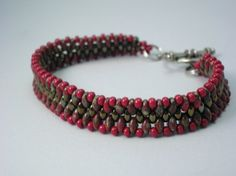 SuperDuo Snakeskin Beaded Bracelet in Bronze and Red