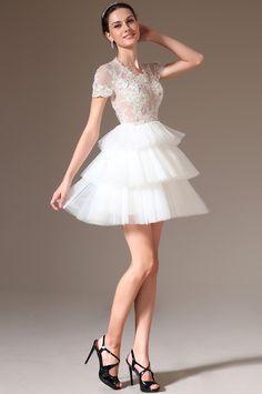 Robe de mariée  courte  buste dentelle et jupe tulle blanc Sheer Lace Top, Kristen Bell, Custom Made, Wedding Planner, Layers, White Dress, Flower Girl Dresses, Formal, Wedding Dresses