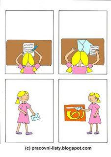 Pracovní listy pro děti: Posloupnosti obrázků Preschool Lessons, Preschool Kindergarten, 4 Image, You've Got Mail, School Projects, Projects To Try, Post Office, Speech And Language, Pre School