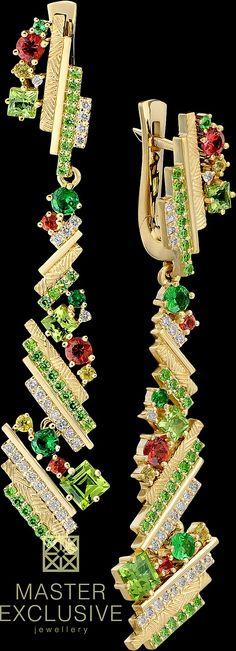 Earrings 13157 Collection: Kaleidoscope  14K yellow gold, diamonds, colored sapphires, tsavorite, demantoid, chrysolite.