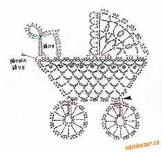 Crochet stroller chart pattern by Alex Mihaela Appliques Au Crochet, Crochet Motifs, Thread Crochet, Crochet Doilies, Crochet Flowers, Crochet Stitches, Filet Crochet, Crochet Diagram, Crochet Motif