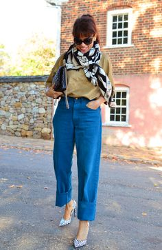 Outfit with vintage Levi's mens jeans in teal, Gold top, Black &  white scarf, heels