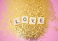 Love is all you need - 5x7 fine art print, Valentine's day, love, glitter, pink, gold - ciaobellaphotography