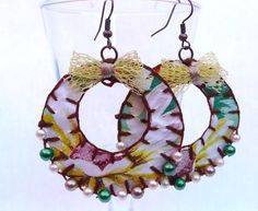 Oilcloth Earrings with Fake Pearls