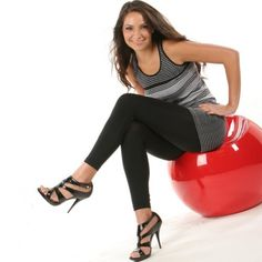 Angelina Full-Length Seamless Leggings, Black, One Size Angelina
