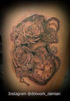 Roses, daisies, pocket watch, locket and key for Emily. 6.5 hours. Dotwork Damian. Blue Dragon Tattoo Studio. Brighton. UK