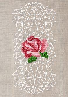 Geometric cross stitch poster