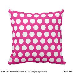 Pink and white Polka dot Throw Pillow Cushion