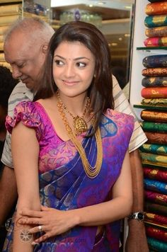 Indian Jewellery and Clothing: Kajalagarwal in purple and blue designer saree with temple jewellery and gold step chain in an opening of a mall. Kids Blouse Designs, Saree Blouse Neck Designs, Hand Designs, Mehndi Designs, Sleeves Designs For Dresses, Sleeve Designs, Stylish Blouse Design, Designer Blouse Patterns, Raglan