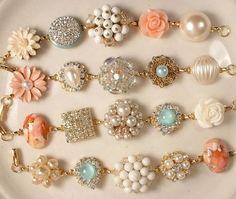 Rhinestones vintage jewelry peach - Google Search