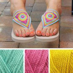 Crochet flipflops, free crochet pattern by Miss Neriss |  Happy in Red