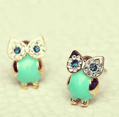 Unique Shiny Sparking Cute Owl Earrings