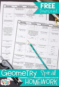 FREE Geometry Math Homework - Common Core High School Math with answer keys - 2 Weeks FREE!