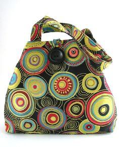 colorful tote bag art purse handmade handbag everyday by daphnenen