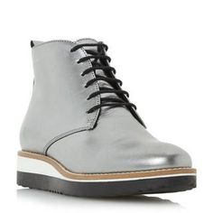 DUNE LADIES PADMORE - Flatform Lace Up Ankle Boot - silver | Dune Shoes Online