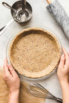 3 Ingredient Pie Crust that is healthy, vegan, grain free, and oil free! Perfect for quiches, pies, and more.