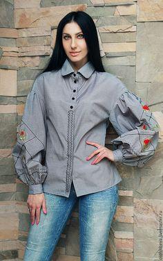 Блузки ручной работы. Вышитая блуза с пышными рукавами