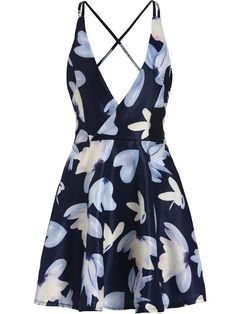 Navy Criss Cross Back Backless Floral Flare Dress-SheIn