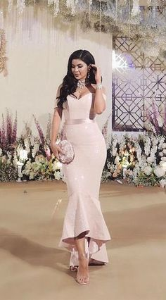 Dinner dress classy - Mermaid OfftheShoulder Pearl Pink Stretch Satin Prom Dress with Sashes – Dinner dress classy Simple Dresses, Elegant Dresses, Beautiful Dresses, Formal Dresses, High Low Bridesmaid Dresses, Mermaid Bridesmaid Dresses, Bridesmaids, Dinner Gowns, African Fashion Dresses