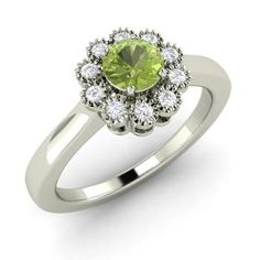 Round Peridot  and Diamond  Vintage Ring in 14k White Gold