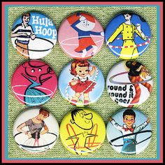 9 HULA HOOPS 1 inch buttons medallions or by SugarPlumRobots, $8.46
