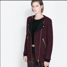 Zara Moto style coat Burgundy and black wool coat. Beautiful gold zipper details. Has 4 pockets in total on the front. Zipper detail also on the arm. Button flap closure at the top. Very edgy but chic! 56% wool, 44% polyester. 100% polyester lining on the inside. Zara Jackets & Coats
