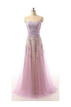 Charming Long Sweetheart Lace Tulle Prom Dress For Teens,Elegant Modest Prom Gowns,Pretty Party Gowns