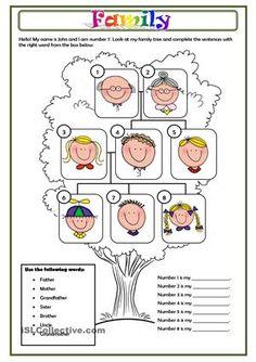 A simple worksheet about family members. - ESL worksheets